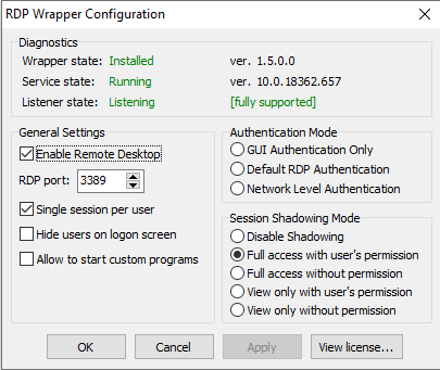 rdp wrapper fully supported